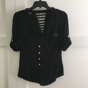 Bebe black button up top